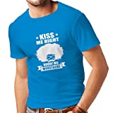 N4268 Männer T-Shirt Küssen Sie Mich direkt unter Meinem Schnurrbart (X-Large Blau Weiß)