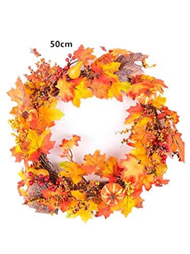 Ahorn Türen (Beere Ahorn Blatt Kürbis Girlande HARRYSTORE Fallen Tür Kranz Mauer Ornament Erntedank (Durchmesser:50CM))