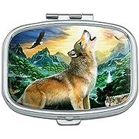 Heulender Wolf Sunset Forest Schmetterlinge Rechteck Pille Fall Schmuckkästchen Geschenk-Box preisvergleich bei billige-tabletten.eu