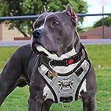 PENGDA No Pull Dog Harness Large - Pet Vest Car Harnessses Handle Adjustable Reflective Breathable Mesh Lightweight Easy Control (Silver)