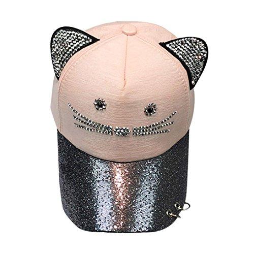 Baseball Kappe Kinder MäDchen Cute Cat Ear Sequin Ring Baseball Cap Hat Flat Hat GreatestPAK -