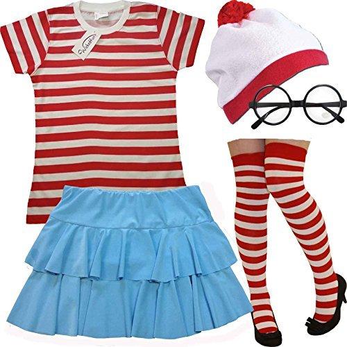 Desconocido Mujer Rojo Y Blanco Rayas 5 Piezas Set Camiseta + Falda + Sombrero + Gafas + Calcetines (XS)