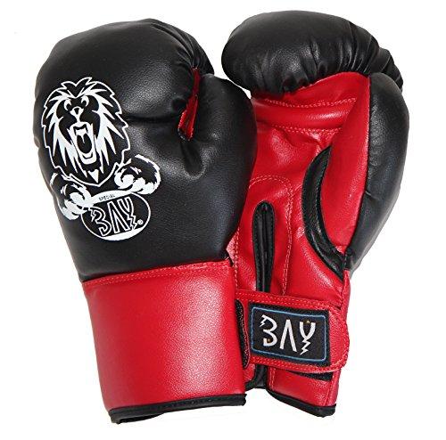 BAY® DISCOUNT Boxhandschuhe Löwe schwarz 2-10 Jahre Unzen Kinder Kids Kunstleder klein mini