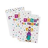 12 Clown Einladungskarten zum Kindergeburtstag / Karneval / Fasching / Party / Geburtstagseinladungen / Einladungen / Geburtstag / Kinder / Jungen / Mädchen / Karten / Sets