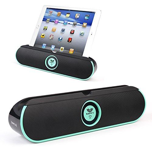 SAVFY Tragbarer Bluetooth 4.0 Lautsprecher Stereo Musik Box 2*5W Treiber Wireless Speaker mit NFC Verbindung und Ständer Halter 8 Stunden Spielzeit für iPad, iPhone, Samsung, Smartphones, Integrierte Mikrofon -Mintblau
