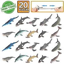 Figura de juguete de tiburón, 20 paquetes de juguetes de goma de baño, material grado alimenticio – TPR de super elasticidad. Favoritos para fiesta de las figuras del mundo zoológico de juguete de baño flotante y blando: Figuras de tiburón, ballena y delfín simulado.