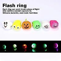 Colleer 6 Stück LED Blinkende Ringe, Leuchtendes Spielzeug für Halloween, Finger Ringe mit verschiedenfarbigem Licht, Party Mitgebsel