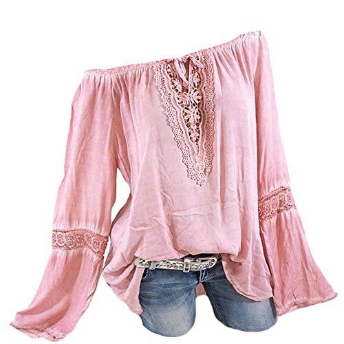 MakefortuneBlusenhemd Damen Volle Größe 8-22 S-XXXXXL Baumwolle Schulterfrei Übergröße Schlichte Blusen mit V-Ausschnitt Langarmshirts T-Shirt (Baumwoll Nadelstreifen-blazer)