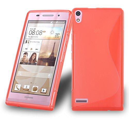 Preisvergleich Produktbild Cadorabo DE-105622 Huawei Ascend P6 Handyhülle aus flexiblem TPU Silikon im S-Line Design Rot