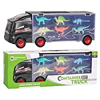 SKAJOWID Dinosaur Truck Toy, Dinosaur Car With 12 Mini Plastic Dinosaurs Educational Car Toys for Kids Boys Girls, Suitable for Children From 3 Years