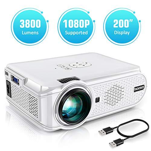 Proyector TAOCOCO Mini Portátil Proyector de Cine en Casa 3800 Lúmenes Altavoces Duales Incorporados 50000 Horas Soporte HD 1080P HDMI/USB/VGA/AV/Micro SD (Incluye HDMI/AV/Cable de Alimentación)