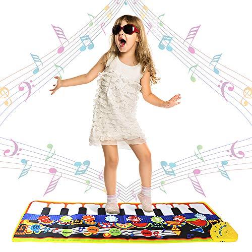 Swonuk 19 Tasten Musik Tanzmatte Keyboard Teppich Spielmatte Piano Matte Klaviermatte für Kinder 110 * 36cm (Sound Matte)