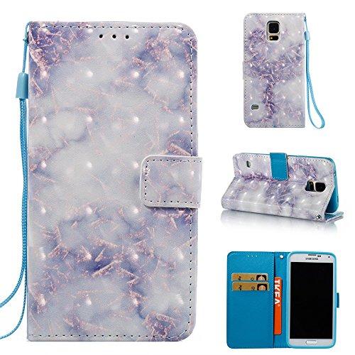 Marmor Stein Grain Texure Pattern PU Ledertasche Cover, Retro Bookstyle Flip Stand Case mit Magnetverschluss & Card Slots & Lanyard für Samsung Galaxy S5 ( Color : E ) A