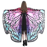 SHOBDW Butterfly Shawl, Women Girls Butterfly Wings Dance Shawl Scarves Ladies Nymph Pixie Poncho Costume Party Photo Cosplay Accessory (168x135cm, Hot Pink-C)