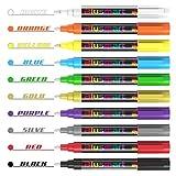 Kreidestift, Blusmart 10 Stück Kreidemarker farbig sortiert Löschbar Glas Fenster markier mit 40 Tafelaufkleber, Reversible Keilspitze 6mm, Kinderfreundlich hergestellt von Blusmart