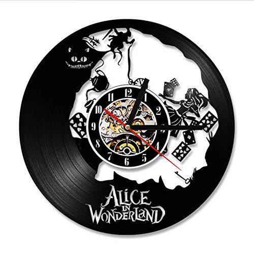 txyang Vinyl Record Wall Clock Modern Design Living Room Decoration Alice In Wonderland Hanging Watch Wall Clocks Home Decor Silent 12