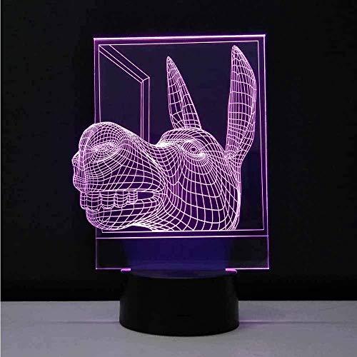 Dekorative Lampen Esel Kopf Led Nachtlicht 3D Visuelle Bulbing Optische Täuschung Baby Nachtlicht Mehrfarbige Tischlampe Lampara