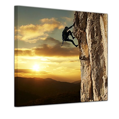 Keilrahmenbild - Bergsteiger im Sonnenuntergang - Bild auf Leinwand - 80 x 80 cm - Leinwandbilder - Bilder als Leinwanddruck - Landschaften - Sport - Klettern im Gebirge