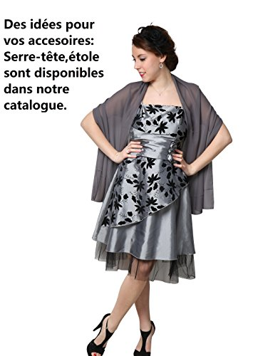 ROBLORA-Kleid-formale Abend-Cocktail Brautjungfer Brautkleid Schulter kurz FLY01 Grau