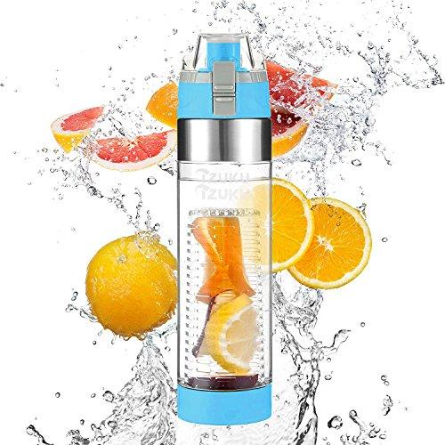 Aroma-wasser-flasche (Trinkflasche mit Fruchtbehälter IZUKU [BPA freies Tritan] Sport Wasserflasche mit Fruchtsieb auslaufsicher 700 ml Sportflasche mit Trageschlaufe sicherem Verschluss für Fruchtschorle und Gemüseschorle(Blau))