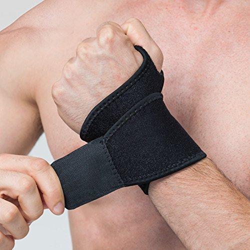 Reversible Daumenbandage rechts und links | Daumenorthese Handgelenkbandage | Bandage für Kraft-Sport, Bodybuilding, Crossfit & Fitness | Damen und Herren | Atmungsaktive Handgelenkstütze | schwarz