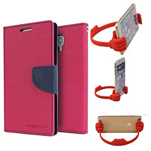 Aart Fancy Diary Card Wallet Flip Case Back Cover For Motorola Moto G2 - (Pink) + Flexible Portable Mount Cradle Thumb Ok Stand Holder By Aart store