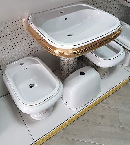 Sanitari bagno lavabo colonna vaso cassett bidet vintage bianco oro Yura Kerasan
