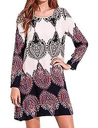 1be6b9227d4 ◕‿◕LMMVP Femmes Coton Doux Manche Longue Robe De SoiréE Mini Robe Courte  Boho