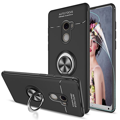 LeYi Hülle Xiaomi Mi Mix 2 Handyhülle mit HD Folie Schutzfolie,Cover Bumper 360 Grad Ring Stand Magnetische Schutzhülle für Case Xiaomi Mi Mix 2 Handy Hüllen JSZH Schwarz