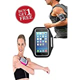 "2 Pack - FRX A107 Sports Running Jogging Gym Armband Case Cover Holder Compitbale For All Smart Phones Till 5.5"" Inch Iphone 6 Plus , Samsung Note 3 ."