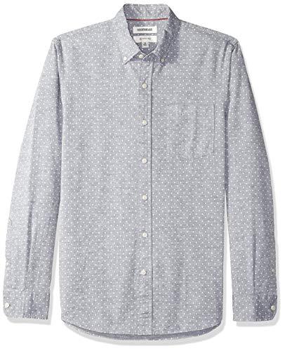 Goodthreads Slim-Fit Long-Sleeve Polka Dot Homespun Chambray Shirt Buttondown-Hemd, Blau (navy white dot), X-Large (Van Heusen-hemd Slim Fit)