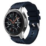 MuSheng For Samsung Galaxy Watch 46MM Armband Band,Fashion Fitness Weicher Silikon Ersatz Band Bügel Armband für Samsung Galaxy Watch 46MM (Mitternachtsblau)