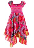 GILLSONZ Neu602vDa Mädchen Kinder Sommer Freizeit Kleid (110/116, Pink)