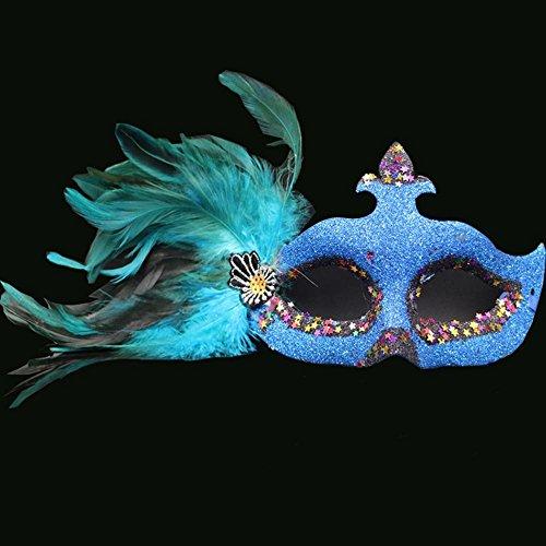 MAFYU Maske, Masquerade Ball Maske Feder Maske Weihnachtsfeier Requisiten Umwelt-Kunststoff; Männliche und weibliche ()