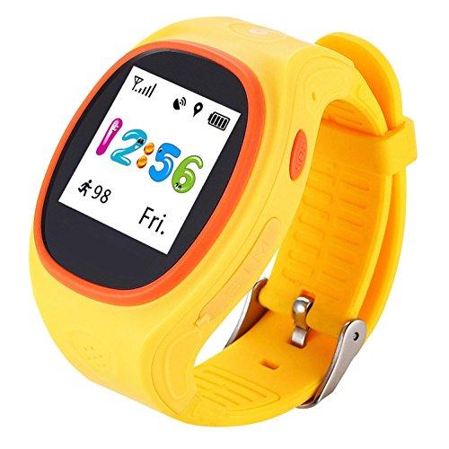 Gps-child-tracker-armband (Kinder Kid Smart Watch S866A Fernüberwachung SOS Kid Schrittzähler GPS Positionierung von iPhone und Android Smartphone , yellow DUWIN)