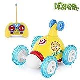 RC Auto Fernbedienung, ICOCO Fernbedienung Auto Stunt Rotation, 2 Kanal 49MHZ Fernbedienung Auto Spielzeug mit Lichtern und Musik, gelb