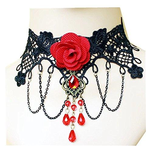 Gótico de Cadena con broche y piedras brillantes de floraler häkelsp precortador Burlesque en negro collar