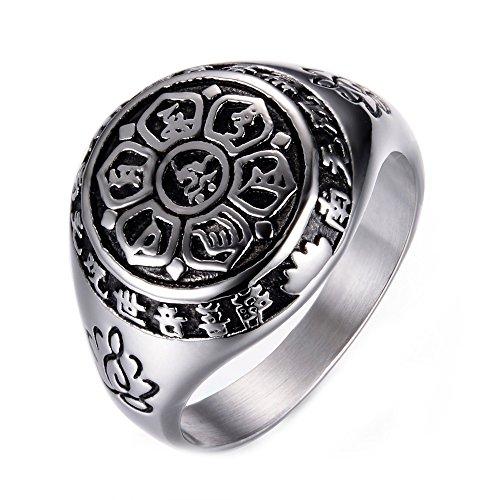 Für Frieden Männer Ringe (Männer Titan Stahl Wiederholen Mantra Lotus Sanskrit Guanyin Mantra Während Frieden Ringe,Silber,57 (18.1))