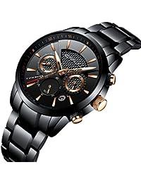 Herren Armbanduhr, Edelstahlband, Quarz-Uhrwerk, Analoganzeige, wasserdicht, mit Datumsanzeige, schwarzes Zifferblatt