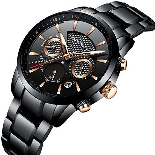 Uhren Herren Edelstahl Band Quarz Analog Armbanduhr mit Chronograph Wasserdicht Datum Herren-Armbanduhr mit schwarzem Zifferblatt