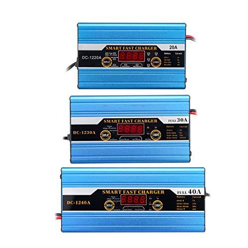 HobbyAnt 20A/30A/40A batteria al piombo-acido 20Ah a 200Ah intelligente caricabatterie multifunzione per auto moto display LCD - Corrente 20A
