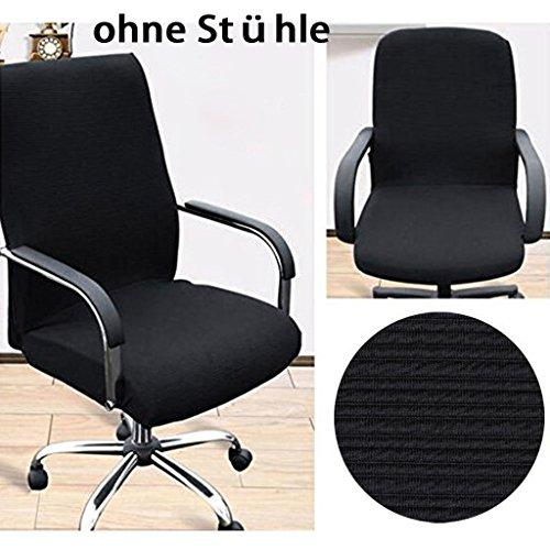 BTSKY Housse sobre et moderne en tissu élastique résistant pour chaise/fauteuil de bureau à accoudoirs, noir, Taille L