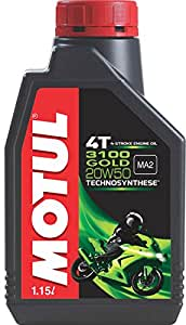 Motul 3100 4T Gold 20W50 API SM Technosynthese High Performance Semi Synthetic Engine Oil for Bikes (1.15 L)