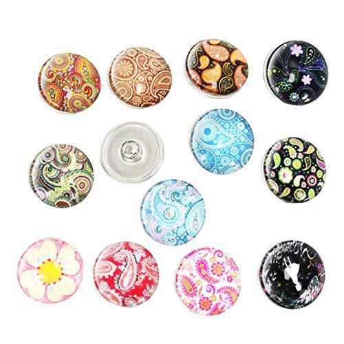 HEALIFTY 30 Stücke Druckknöpfe Schmuck Glas Snap Charms Schmuckknöpfe für Armbänder Halsketten (Gemischte Muster)