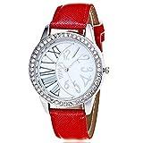 Coconano Relojes Mujer Baratos, Patrón de Moda de Cristal Banda de Cuero de Cuarzo Analógico Relojes de Pulsera de Moda
