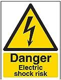 Vsafety, 68019AN-R, cartello di pericolo elettrico Danger Electric Shock Risk, in plastica rigida da 1mm, orientamento verticale, 150 x 200mm, colore nero e giallo (lingua italiana non garantita)