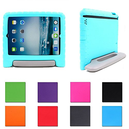 Price comparison product image 2017 New iPad 9.7'' Case,  iPad Air / Air2 Kids Case: Aken Safe Shockproof Protection Case Kid Proof + Ultra Lightweight + Comfort Grip Carrying Handle + Folding Stand (Teal Gray)