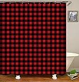 XMDNYE 3D-Druck Duschvorhang Abdichtung und Плесени Bad Vorhang mit Kleinen Roten und Schwarzen Farbe Square Muster Enthält 12 Haken,150×180Cm