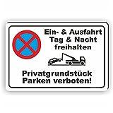 EIN- und AUSFAHRT FREIHALTEN - Parken verboten Schild / PV-009 (30x20cm Schild)