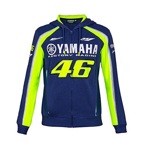 2018VR46Valentino Rossi # 46MotoGP zull Zip Hoody Hoodie Yamaha Factory Racing, Blau, Mens (XL) 118cm/46 inch Chest